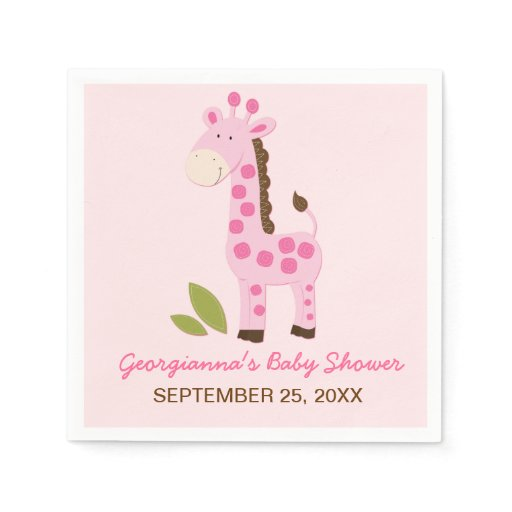 Pink Giraffe Customized Baby Shower Napkin