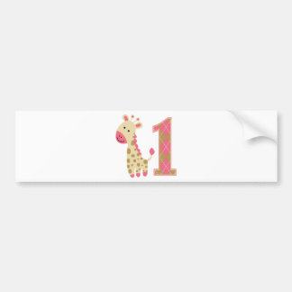 Pink Giraffe First Birthday Bumper Sticker