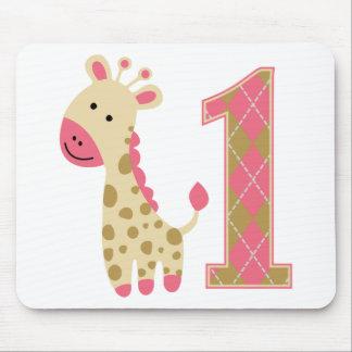 Pink Giraffe First Birthday Mouse Pad