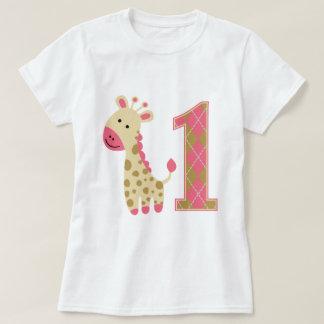 Pink Giraffe First Birthday T-Shirt