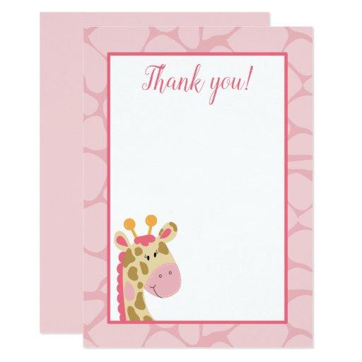 Pink Giraffe Flat Thank you card