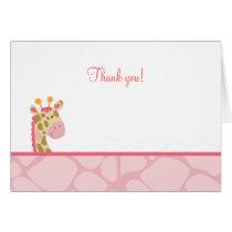 Pink Giraffe Folded Thank you Note Card