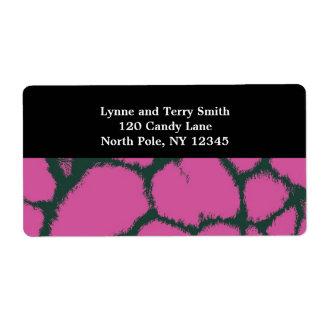 Pink Giraffe Fur Pattern Label