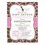 Pink Giraffe Girl Baby Shower Postcard Invitation