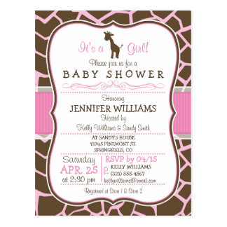 Pink Giraffe Girl Baby Shower Postcard Invitation