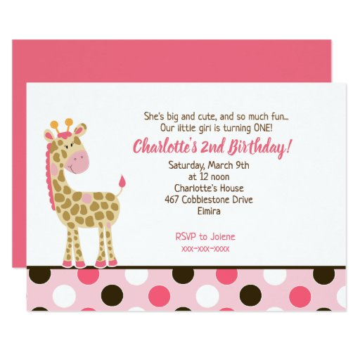 Pink Giraffe Girl Birthday Invitation