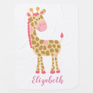 Pink Giraffe Girl Customized Fleece Baby Blanket