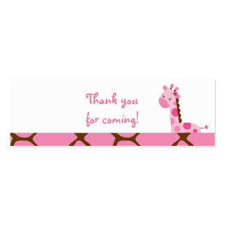 Pink Giraffe Girl Favor Gift Tags Double-Sided Mini Business Cards (Pack Of 20)