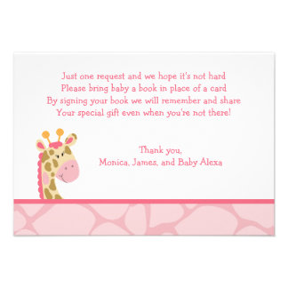 Pink Giraffe Girl Safari RSVP Enclosure Cards