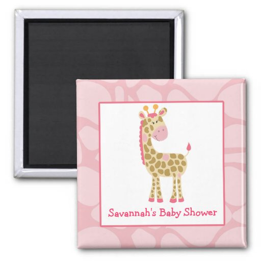 Pink Giraffe Girl Safari Square Favor Magnet