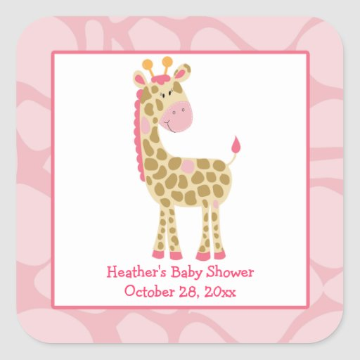 Pink Giraffe Girl Safari Square Favor Stickers