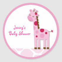 Pink Giraffe Girl Stickers Envelope Seals