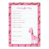 Pink Giraffe Girl Wishes for Baby Advice Cards