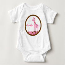 Pink Giraffe Girls Baby T-Shirt