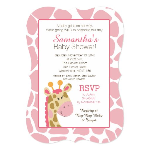 Pink Giraffe It's a Girl Baby Shower Invitation