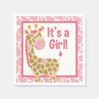 Pink Giraffe It's a Girl Baby Shower Napkins