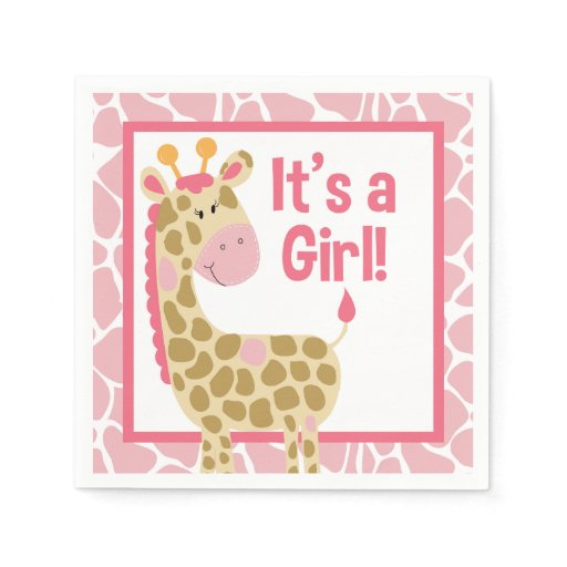 Pink Giraffe It's a Girl Baby Shower Napkins