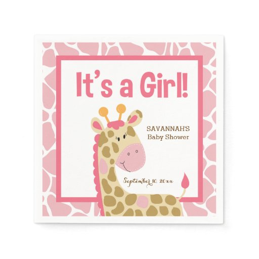 Pink Giraffe It's a Girl Custom Napkins