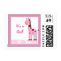 Pink Giraffe Its a Girl Postage Stamps