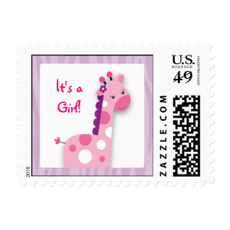 Pink Giraffe Jungle It's a Girl Postage Stamps