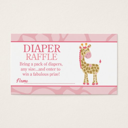 Pink Giraffe Jungle Jill Baby Shower Diaper Raffle Business Card