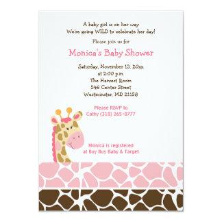 Pink Giraffe Jungle Safari Baby Shower Invitation