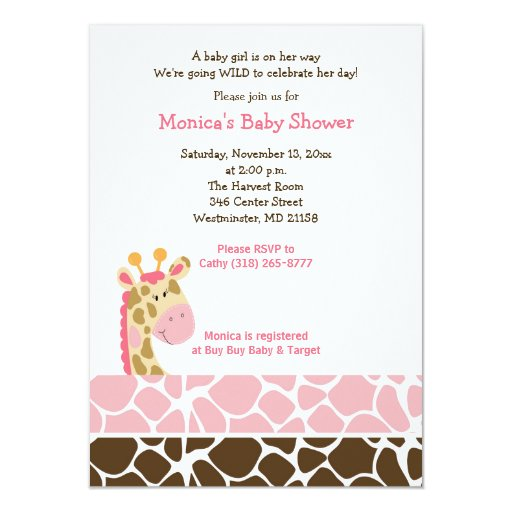 Pink Giraffe Jungle Safari Baby Shower Invitation
