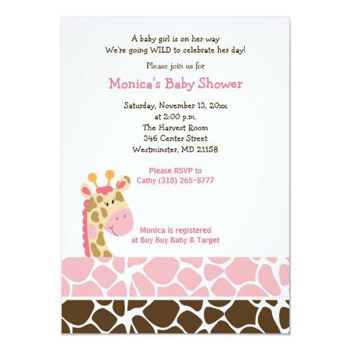 pink giraffe jungle safari baby shower invitation zazzle