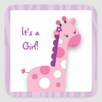 Pink Giraffe Jungle Stickers Envelope Seals