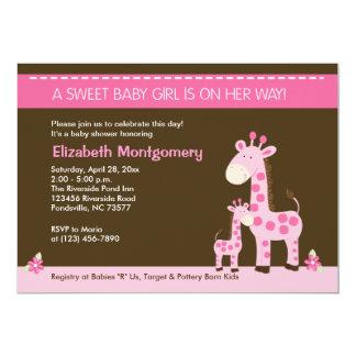 Pink Giraffe Mommy and Baby Girl Shower Invitation