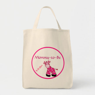 Pink Giraffe Mommy To Be Baby Shower Tote Bag