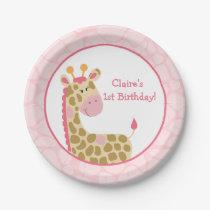 Pink Giraffe Paper Plate with Customization