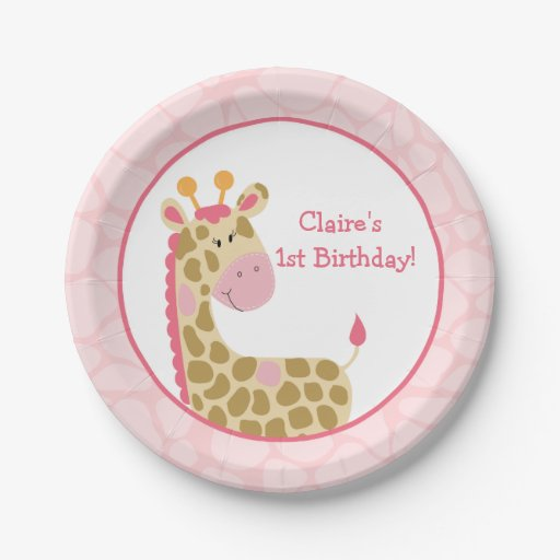 Pink Giraffe Paper Plate with Customization