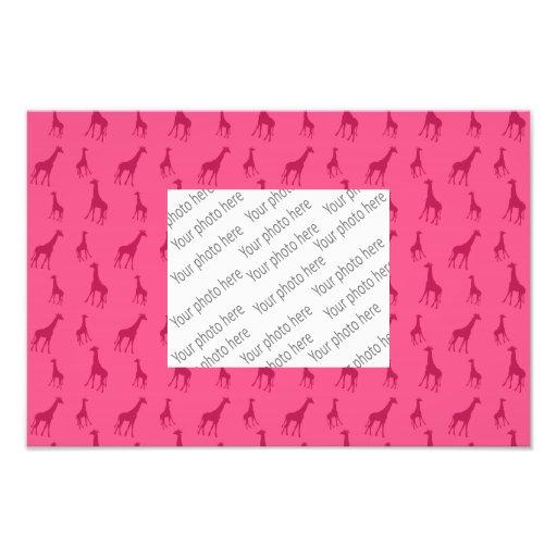 Pink giraffe pattern photo print