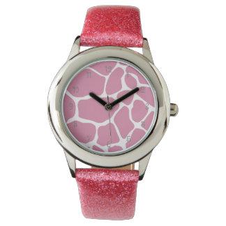 Pink Giraffe Pattern Watch