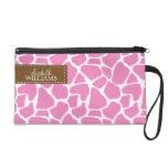 Pink Giraffe Pattern Wristlet Purse