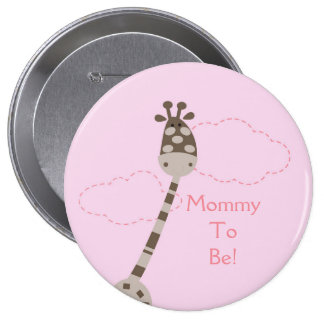 Pink Giraffe Personalized Mommy to Be Button