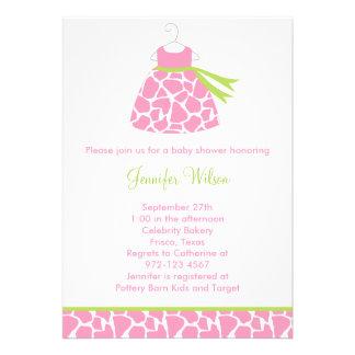Pink Giraffe Print Baby Shower Invitation Invitation