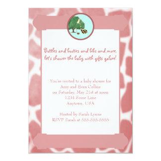 Pink Giraffe Print Border Baby Shower Invitation