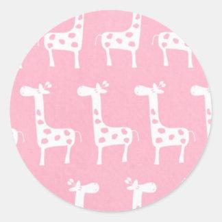 pink giraffe print classic round sticker