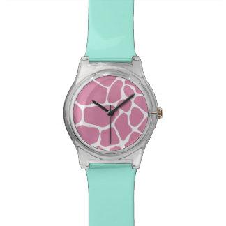 Pink Giraffe Print Pattern Wristwatch