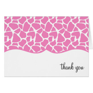 Pink Giraffe Print Thank You Notes