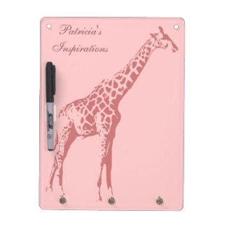 Pink Giraffe Sketch Dry Erase Whiteboards
