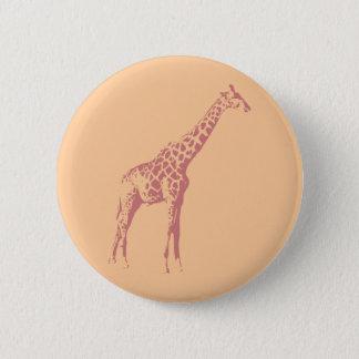 Pink Giraffe Sketch Pinback Button