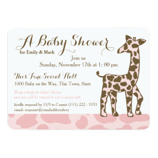 Pink Giraffe Spots Baby Shower Card