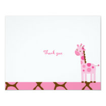 Pink Giraffe Thank You Note Cards