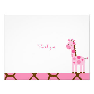 Pink Giraffe Thank You Note Cards Personalized Invitation