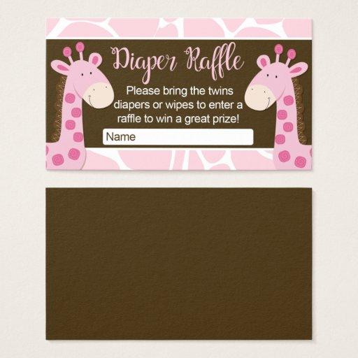 Pink Giraffe Twin Girls Diaper Raffle Cards