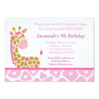 Pink Giraffe Valentines Day Birthday Invitation