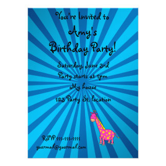 Pink giraffe with blue sunburst personalized announcements